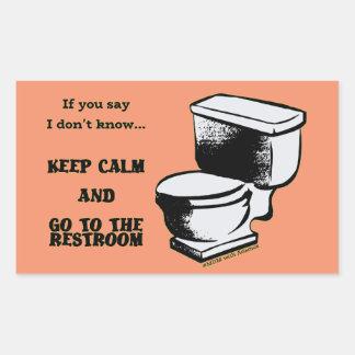 Mantenha a calma e vá às etiquetas do local de adesivo retangular