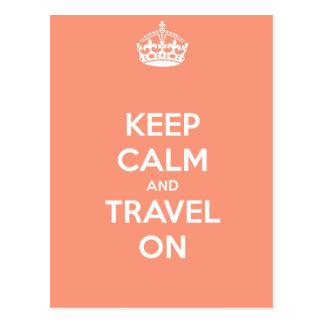 Mantenha a calma e viaje sobre cartão postal