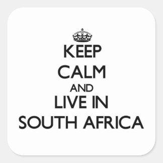 Mantenha a calma e viva em África do Sul Adesivos Quadrados