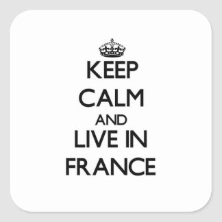 Mantenha a calma e viva em France Adesivo Quadrado