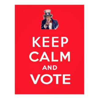 Mantenha a calma e vote panfleto personalizado