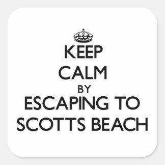 Mantenha a calma escapando à praia New York de Adesivo Quadrado