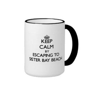 Mantenha a calma escapando à praia Wisconsi da Caneca Com Contorno