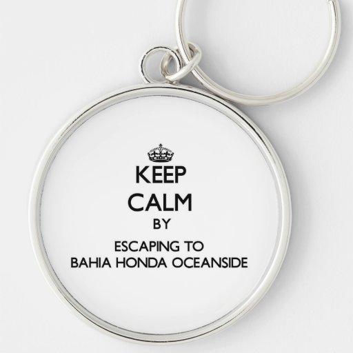 Mantenha a calma escapando ao perto do oceano Flo  Chaveiro