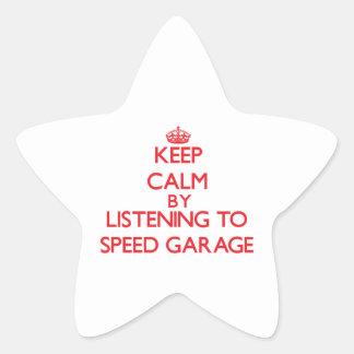 Mantenha a calma escutando a GARAGEM da VELOCIDADE Adesivo Estrela