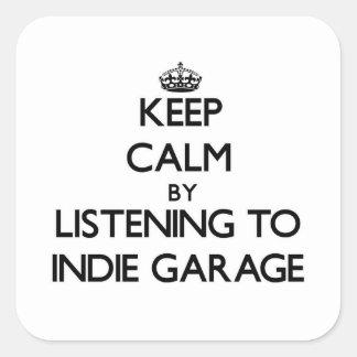Mantenha a calma escutando a GARAGEM INDIE Adesivos Quadrados