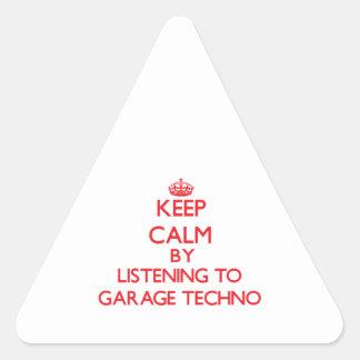 Mantenha a calma escutando a GARAGEM TECHNO Adesivo Triangular