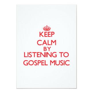 Mantenha a calma escutando a MÚSICA de EVANGELHO Convite 12.7 X 17.78cm