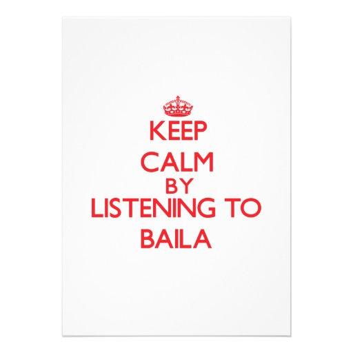 Mantenha a calma escutando BAILA Convites Personalizados