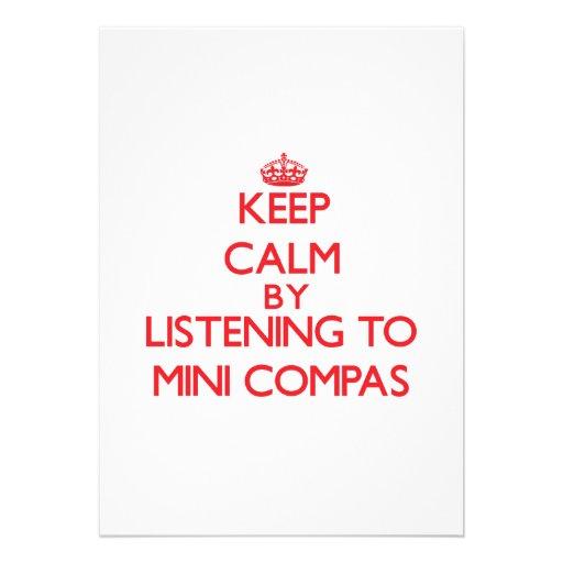 Mantenha a calma escutando MINI COMPAS Convites
