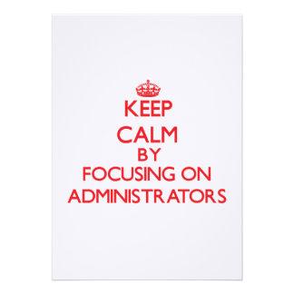 Mantenha a calma focalizando em administradores convites