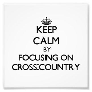 Mantenha a calma focalizando em através dos campos fotografia