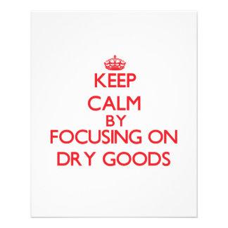 Mantenha a calma focalizando em bens secos panfleto personalizados