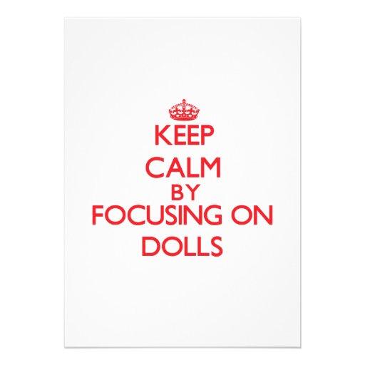 Mantenha a calma focalizando em bonecas convite personalizado