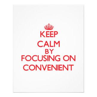 Mantenha a calma focalizando em conveniente modelo de panfletos
