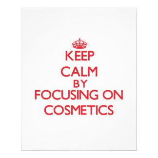 Mantenha a calma focalizando em cosméticos panfleto