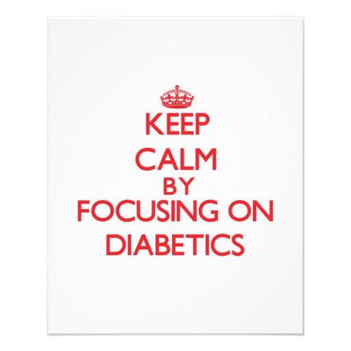 Mantenha a calma focalizando em diabéticos modelo de panfletos