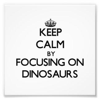 Mantenha a calma focalizando em dinossauros impressão de foto