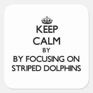 Mantenha a calma focalizando em golfinhos listrado adesivo em forma quadrada