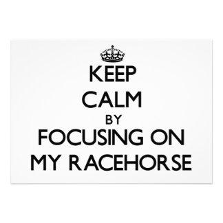 Mantenha a calma focalizando em meu cavalo de corr