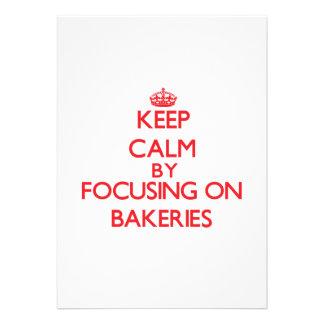 Mantenha a calma focalizando em padarias convites personalizado