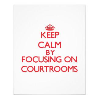 Mantenha a calma focalizando em salas do tribunal panfletos personalizados
