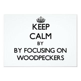Mantenha a calma focalizando em Woodpeckers Convite Personalizados