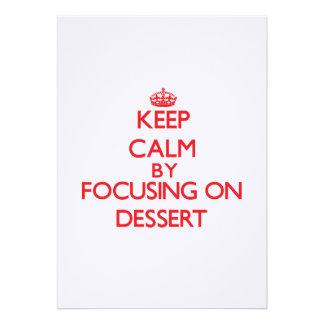 Mantenha a calma focalizando na sobremesa convite