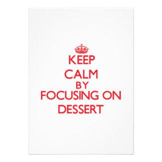 Mantenha a calma focalizando na sobremesa convite personalizado
