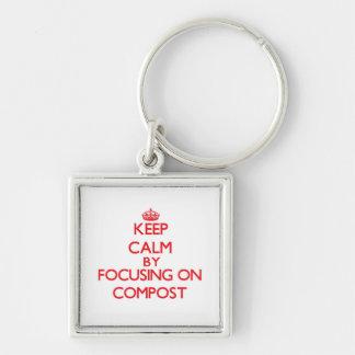 Mantenha a calma focalizando no adubo chaveiros