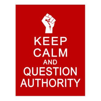 Mantenha a calma & o cartão da autoridade da