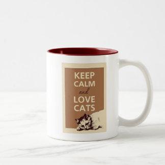 Mantenha a calma para a caneca dos amantes do gato