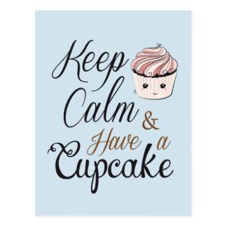 Mantenha a calma para comer um cupcake - kawaii cartão postal