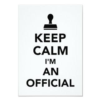 Mantenha a calma que eu sou um oficial convite 8.89 x 12.7cm