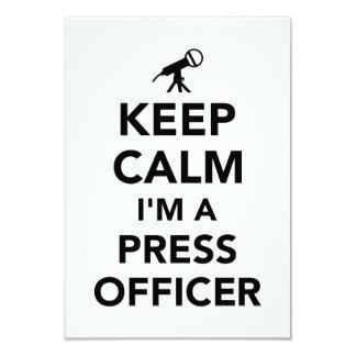 Mantenha a calma que eu sou um oficial da imprensa convite 8.89 x 12.7cm