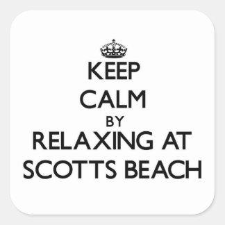 Mantenha a calma relaxando na praia New York de Sc Adesivos Quadrados