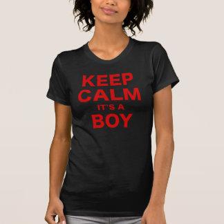 Mantenha a calma sua um menino t-shirts