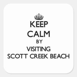 Mantenha a calma visitando a praia Califórnia da a Adesivo Em Forma Quadrada
