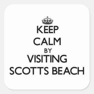 Mantenha a calma visitando a praia New York de Sco Adesivo Quadrado