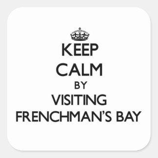 Mantenha a calma visitando o Virgin Islan da baía  Adesivo Quadrado