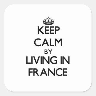 Mantenha a calma vivendo em France Adesivo Quadrado