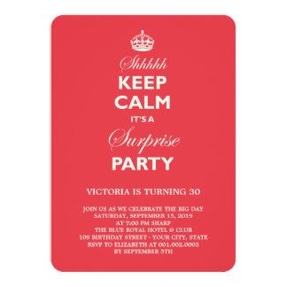 Mantenha a festa de aniversário engraçada calma da convite 11.30 x 15.87cm