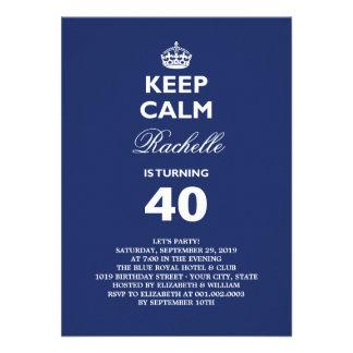 Mantenha a festa de aniversário engraçada calma do convite