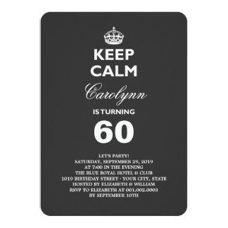 Mantenha a festa de aniversário engraçada calma do convite 11.30 x 15.87cm