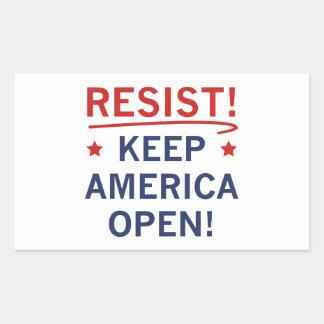 Mantenha América aberta Adesivo Retangular