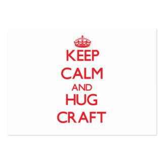 Mantenha artesanato calmo e do abraço modelo cartões de visitas