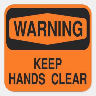 Mantenha as mãos claras adesivos quadrados
