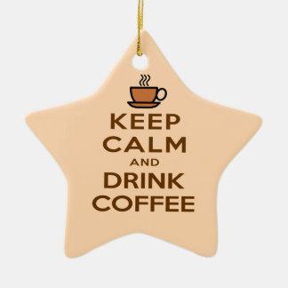 Mantenha café calmo e da bebida ornamento de cerâmica estrela