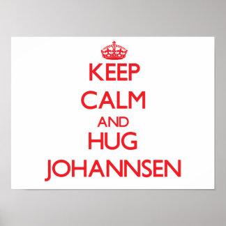 Mantenha calmo e abraço Johannsen Pôsteres