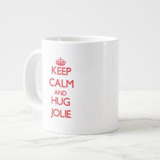 Mantenha calmo e abraço Jolie Caneca De Café Muito Grande